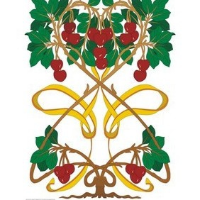 Art Nouveau Cherry Tree - vector gratuit #222843
