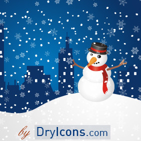 Snowman Greeting - Free vector #222863