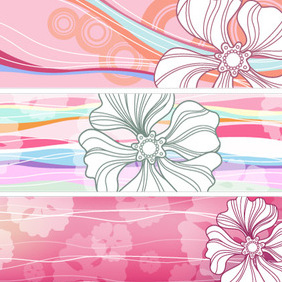 8 Vector Flower Banners (H) - Free vector #223013