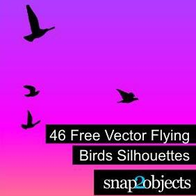 46 Free Vector Flying Birds Silhouettes - Free vector #223083