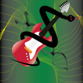 Guitar And Snake - Free vector #223633