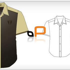 Short Sleeved Shirt Template - Free vector #223803