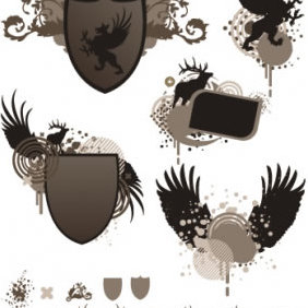 Wings Coat Of Arms - Free vector #223923