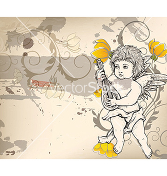 Free angel with floral vector - vector gratuit #231773