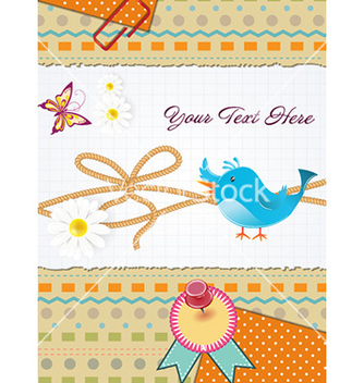 Free bird with scrapbook elements vector - Free vector #231863