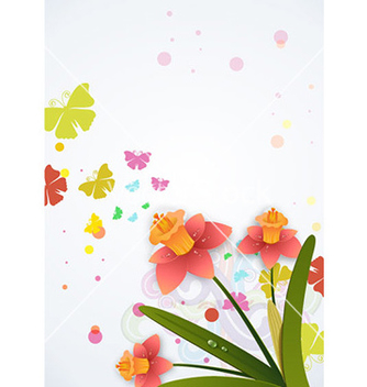 Free butterflies with floral vector - Free vector #231913