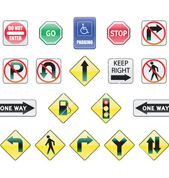 Free set of road signs vector - vector gratuit #232953