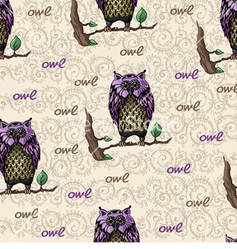 Free pattern with owl on a branch vector - Free vector #233003
