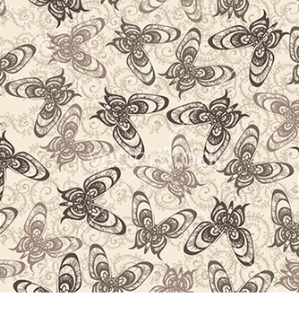 Free pattern with butterflies on a beige background vector - Free vector #233023