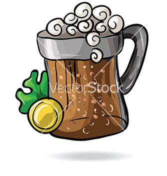 Free mug of beer with clover and money vector - vector gratuit #233043