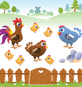 Free cute cartoon hen rooster and chicken with landscap vector - бесплатный vector #233153