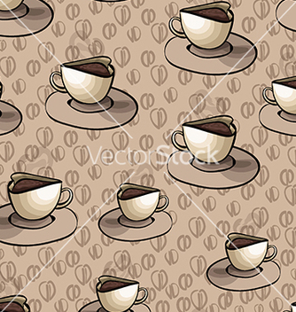 Free pattern with cup of coffee on a beige background vector - vector gratuit #233263