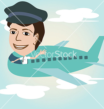 Free a pilot on an airplane above sky vector - Free vector #233353