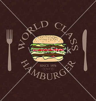 Free world class burger label stamp banner design vector - vector #233393 gratis