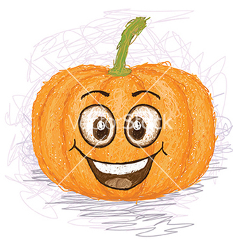 Free happy pumpkin vegetable cartoon character smiling vector - Free vector #233483