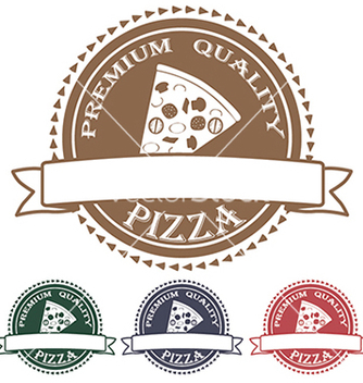 Free premium quality pizza label stamp banner design vector - vector gratuit #233543