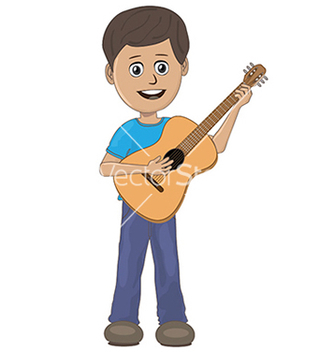Free boy playing guitar vector - vector gratuit #233603