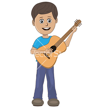Free boy playing guitar vector - Free vector #233603