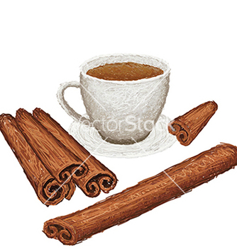 Free unique style of cinamon sticks and a cup of vector - бесплатный vector #233613