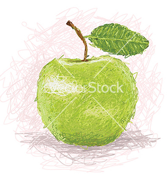 Free closeup of a fresh green apple fruit vector - vector gratuit #233683