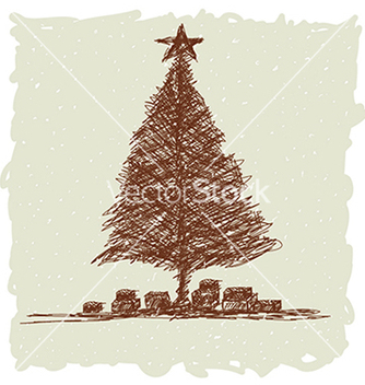 Free hand drawn of vintage christmas tree vector - Free vector #233853