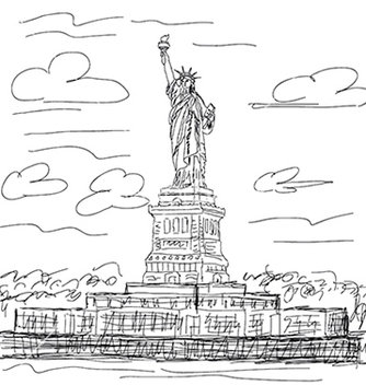 Free hand drawn of famous tourist destination statue of vector - Free vector #233913