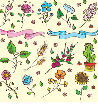 Free flowers and plants set vector - Kostenloses vector #233953