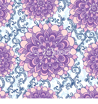 Free beautiful pattern with blue flowers and floral vector - Free vector #234073