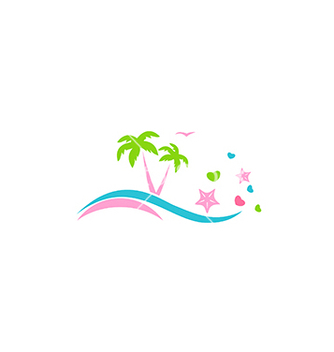 Free abstract beach palm tree love logo vector - бесплатный vector #234193