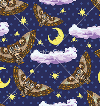 Free pattern with owl and stars on a blue background vector - Free vector #234613