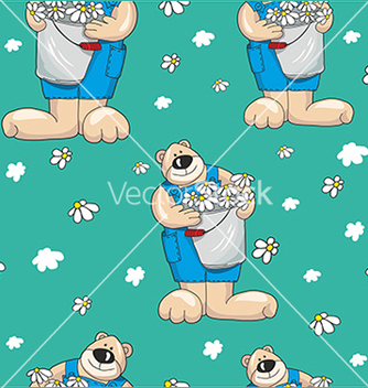 Free pattern with bears on a blue background vector - Free vector #234653