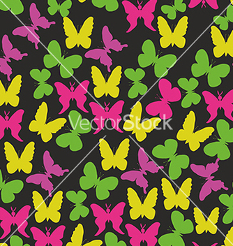 Free beautiful pattern with butterflies on a black vector - Free vector #234683