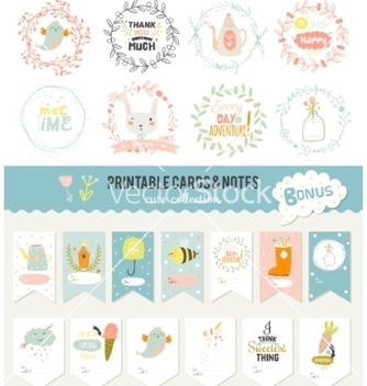 Free set of cards notes and stickers with cute vector - vector gratuit #234753