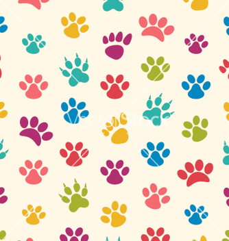 Free seamless texture with traces of cats dogs imprints vector - Free vector #235193
