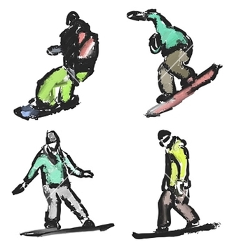 Free drawn snowboarders vector - vector gratuit #235963