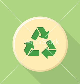 Free flat style recycle sign icon with shadow vector - vector gratuit #236233