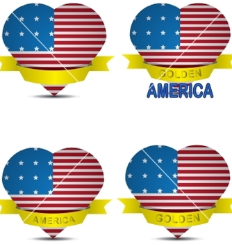 Free american flag in the shape of heart vector - vector #236293 gratis