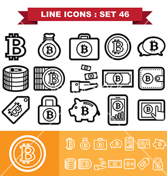 Free bitcoin line icons set 46 vector - vector gratuit #236813