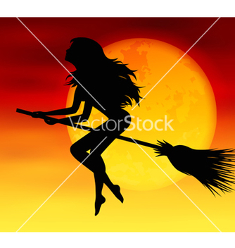 Free witch on background of the moon vector - Free vector #236833