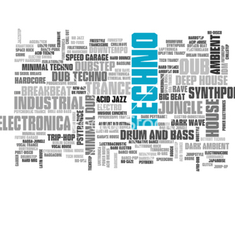 Free electronic techno music styles word cloud bubble vector - бесплатный vector #237253