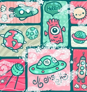Free cute seamless space pattern vector - vector gratuit #237523