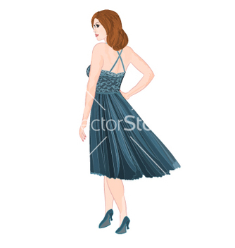 Free girl figure in blue dress vector - Free vector #237703