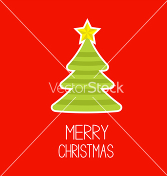 Free striped christmas tree merry christmas card vector - vector gratuit #238003