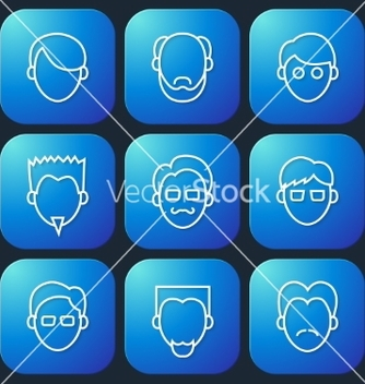 Free male faces icons set vector - бесплатный vector #238063
