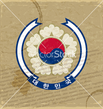 Free coat of korea on an old sheet of paper vector - Kostenloses vector #238113