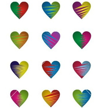 Free two color heart vector - vector gratuit #238453