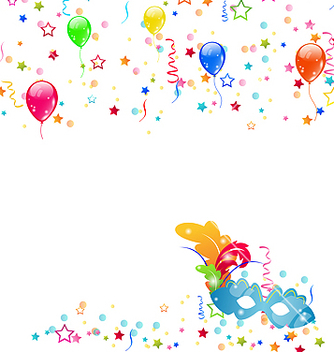 Free carnival background with mask confetti balloons vector - Free vector #238533