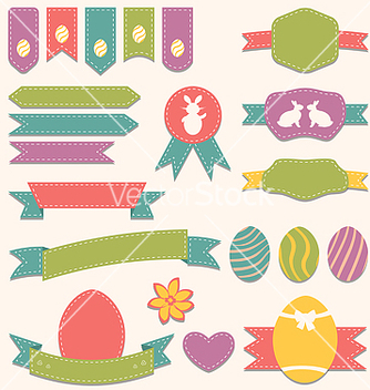 Free easter scrapbook set labels ribbons and other vector - Free vector #238543