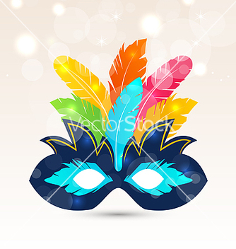 Free colorful carnival or theater mask with feathers vector - Kostenloses vector #238693
