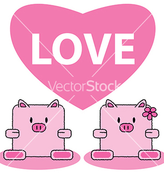 Free pig in love vector - vector gratuit #239013